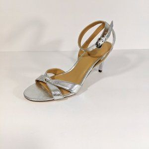 Michael Kors Silver Heeled Sandals W Ankle Strap